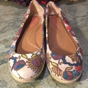 Fossil Canvas Floral Flats